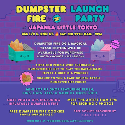 Dumpster Fire Magical Trash Edition Vinyl Figure by 100% Soft & OG Edition Release Party at JapanLA Little Tokyo