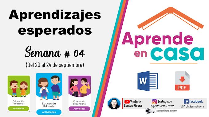 Aprendizajes Esperados Semana # 4 (del 20 al 24 de septiembre de 2021) de Aprende en Casa