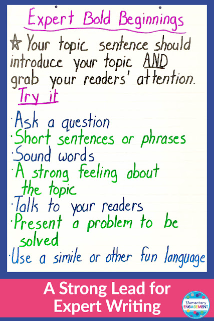 The first step to sharing your expertise in written form is to craft a lead that will get your readers interested.  This anchor chart gives young writers some ideas on how to do this.  Click on the link for additional ideas for anchor charts.