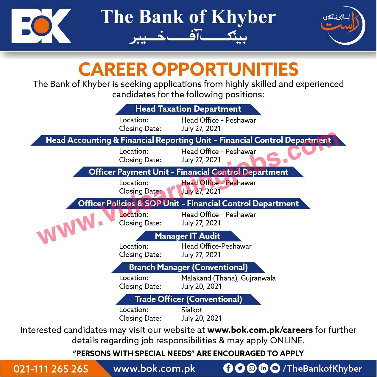 The Bank Of Khyber Jobs July 2021 Head Taxation Department, Head Accounting, Officer Payment Unit & Other Latest