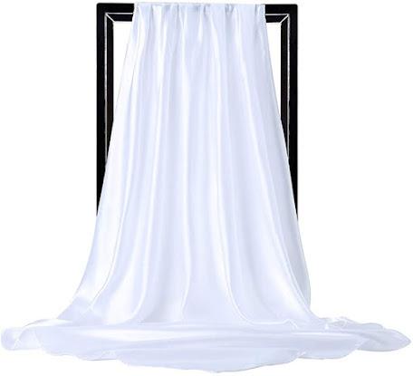 Shiny White Satin Scarves