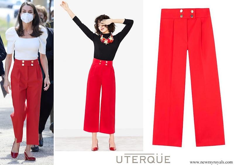 Queen Letizia wore Uterque Buttoned Red Culottes