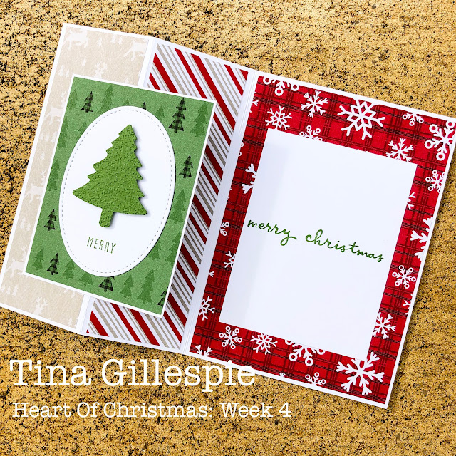 scissorspapercard, Stampin' Up!, Heart Of Christmas, Christmas To Remember, Peaceful Prints DSP SAB, Pine Tree Punch, Tasteful Textile 3DEF, Stitched Shapes Dies, Christmas Card, Sheetload Of Cards
