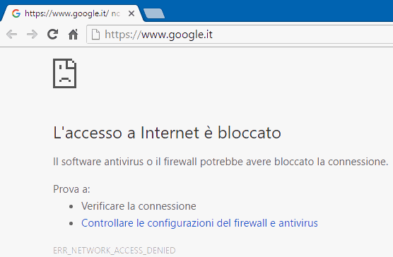 Chrome accesso a internet bloccato da Windows Firewall