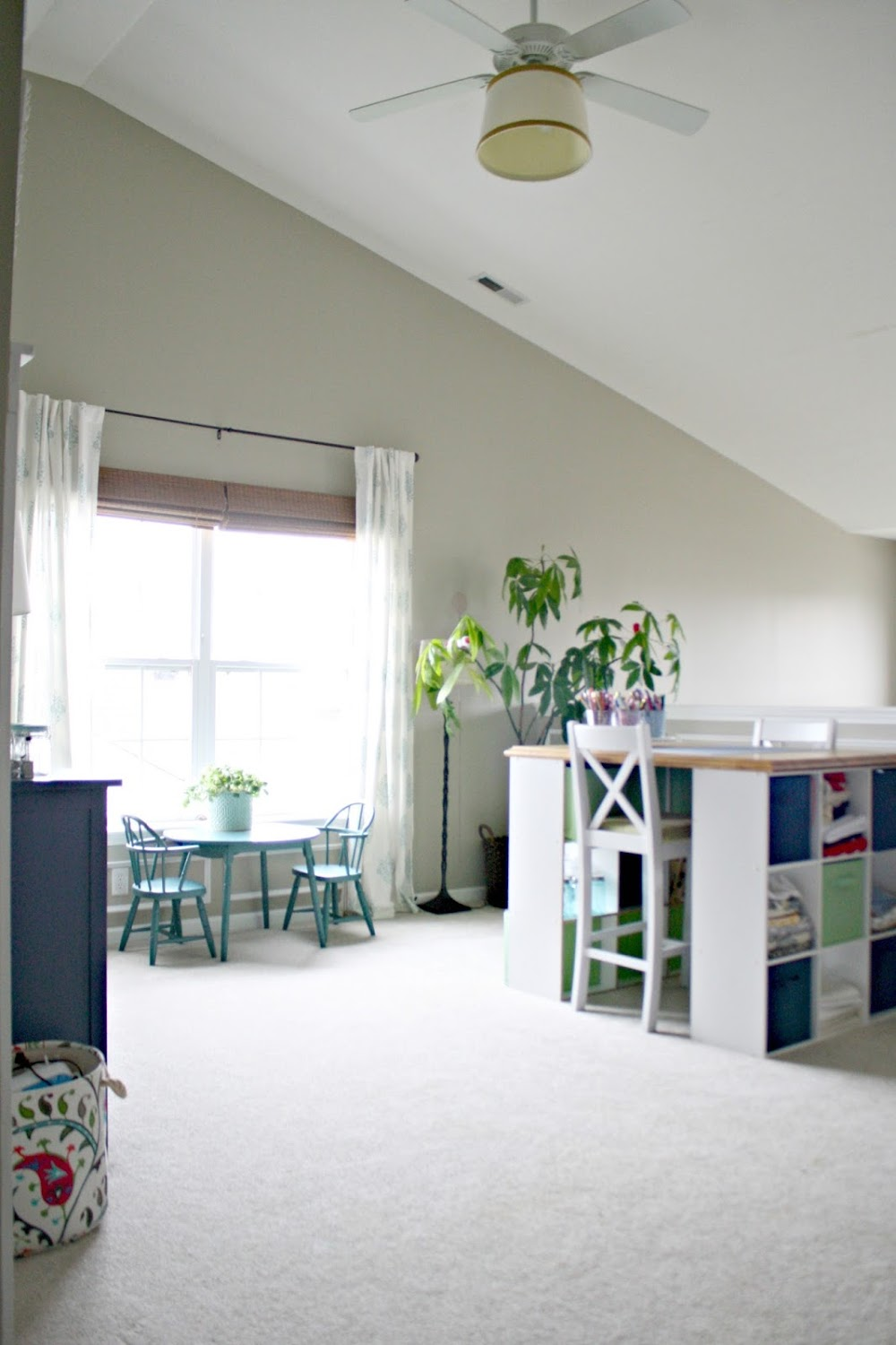 DIY craft table with storage