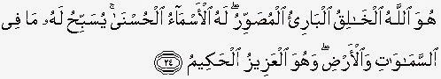 Tafsir Ayat-ayat Ketuhanan (Surat al-Hasyr Ayat 24)