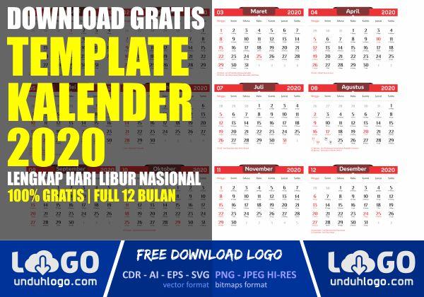 Template Kalender 2020