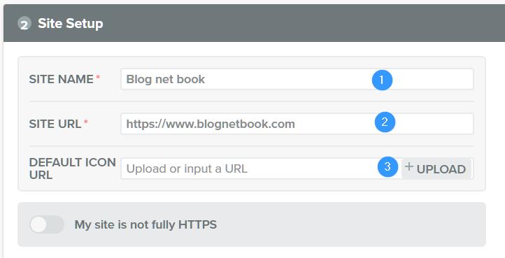 Site setup on web push