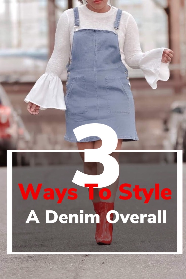 pattys kloset, how to style, different ways to style, denim overall dress, overalls, how to style overalls, outfits with overalls.