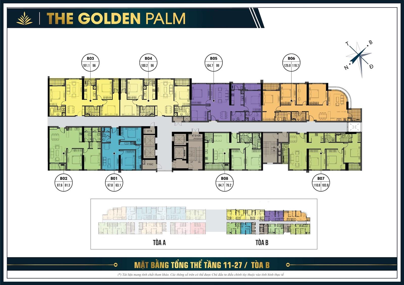 Thiết kế mặt bằng căn hộ điển hình tầng 11 đến 27 tòa B - The Golden Palm