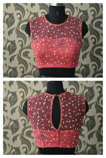 c07144ed0bd709 30 Pretty Sheer Back Neck Blouse Designs || Transparent blouse for ...