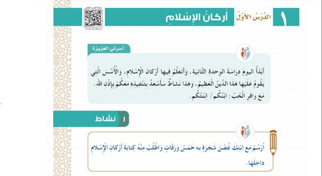 حل درس اركان الاسلام التوحيد للصف الثالث ابتدائي