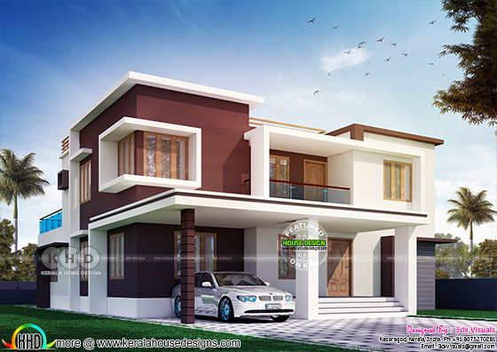 Maroon color show wall flat roof house front elevation