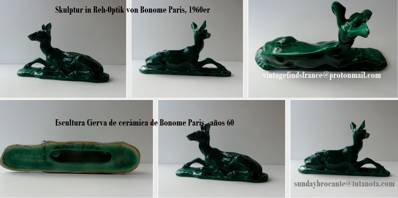 mid century, Green Ceramic Doe Sculpture, Skulptur in Reh-Optik von Bonome Paris, 1960er, Escultura Verde Cierva  de cerámica de Bonome Paris, años 60