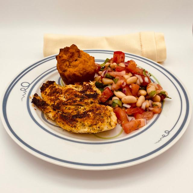 Lemon Chicken with Tuscan Tomato-Bean Salad