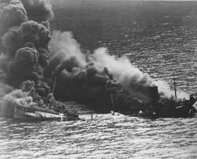 USS Navy destroyer USS Reuben James after being torpedoed worldwartwo.filminspector.com
