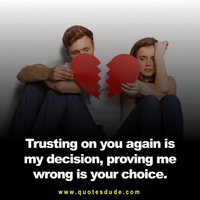A image of heart broken breakup status between boyfriend and girlfriend.