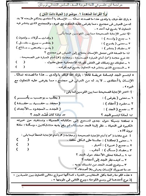 مراجعة لغة عربية للصف السادس الابتدائي الترم الثاني ملزمتي