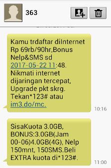 SMS Notifikasi Cek Kuota dan Cek Status Paket Internet Indosat