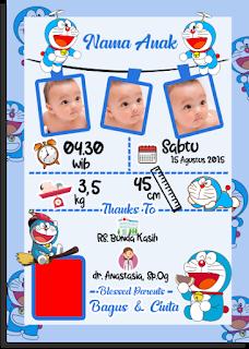 Desain biodata bayi baru lahir