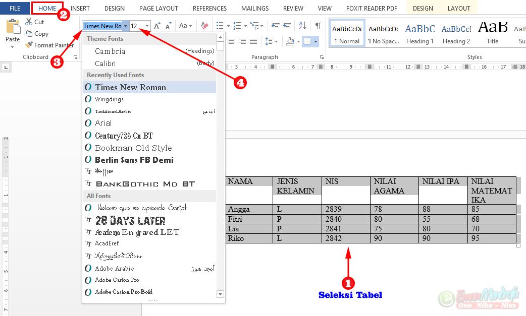 Mengatur Jenis dan ukuran huruf tabel