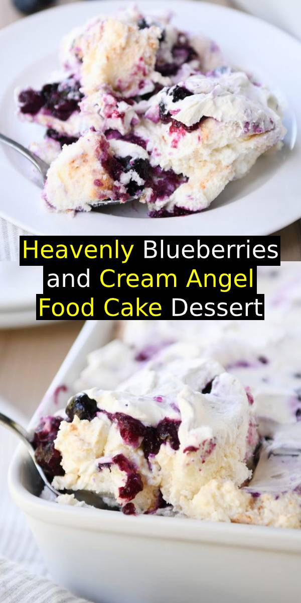 This heavenly blueberry angel food cake dessert is so light and delicious! It makes the perfect ending to any meal – everyone always asks for the recipe! #blueberries #angelfood #cake #dessert #dessertrecipe