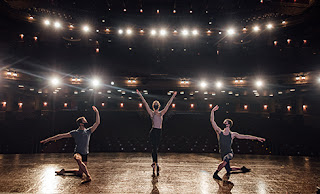 Scottish Ballet dancers rehearse on stage ahead of filming for the Edinburgh International Festival.
