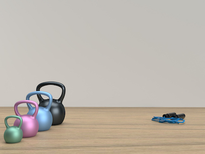 3D Metal kettle balls and jumping rope background