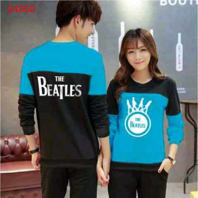 Jual Sweater Couple Sweater Beatles Cross Black Turquise - 24850