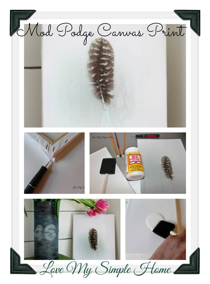 DIY feather print on canvas and free printable