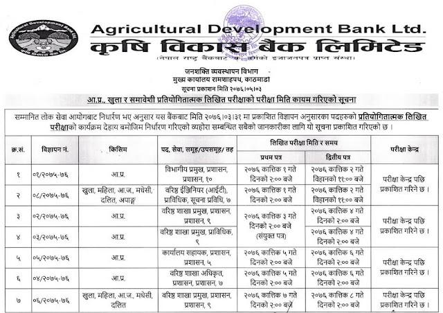 Agricultural Development Bank Written Exam Routine 2076 - 1