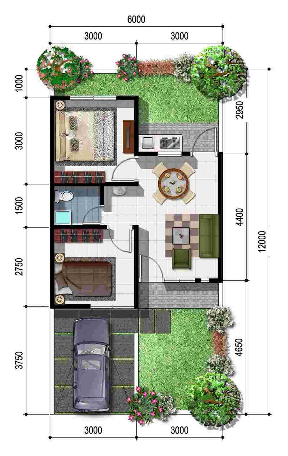 Denah Desain Rumah Memanjang Ke Belakang 1 Lantai dengan Garasi dan Taman Minimalis