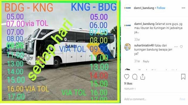 Jadwal Damri Kuningan Bandung 2019
