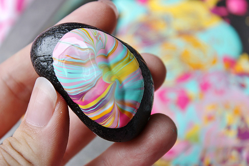 Drip and Pour Paint Rocks are a fun way to create one of a kind art, and zen out! #NourishWhatsNext (AD)