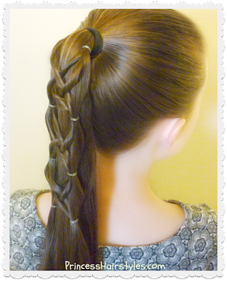 Criss cross woven ponytail hairstyle, video instructions.