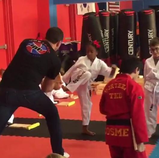 Check out Julius Agwu's daughter's karate skills (Photos)