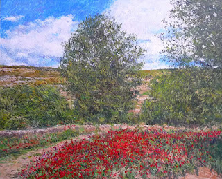 Paisaje de primavera en la provincia de Alicante, oleo sobre lienzo.