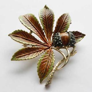 enamel conker brooch by Exquisite