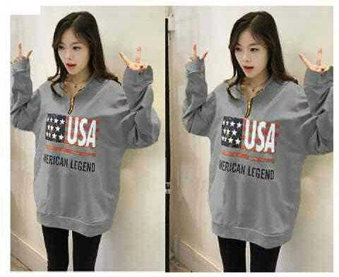 Jual Baju Lengan Panjang Sweater USA Zipper - 13818