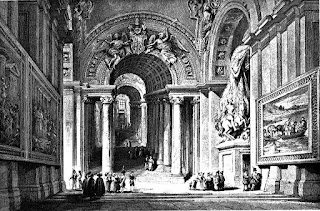 The Scala Regia was built by Sangallo and later restored by Gian Lorenzo Bernini