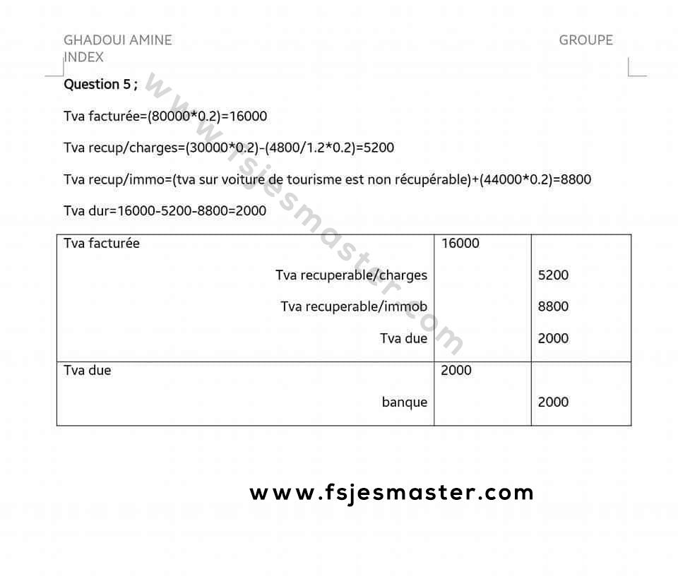 Correction Concours Master Finance Contrôle et Audit (FCA) 2016-2017 - Fsjes Fes