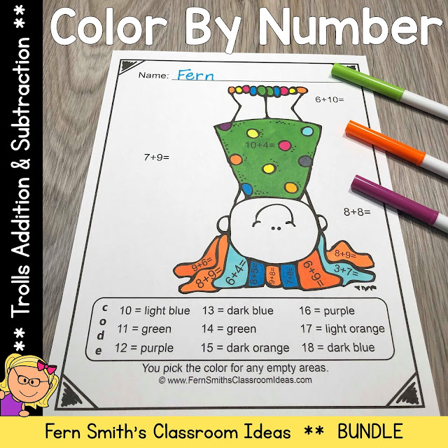 Trolls Color By Number Addition and Subtraction Resource comes with 4 student PDF worksheets and 4 PDF answer keys. You have my full permission to share this resource with your students electronically during this time of distance learning. You may also copy them and use them in a take-home worksheet packet if your school does that for students with slow to no Internet. One other option is to send it to the parents attached to an email. This way you are sending something home at the beginning of the year that is fun and high interest for your new students. #FernSmithsClassroomIdeas