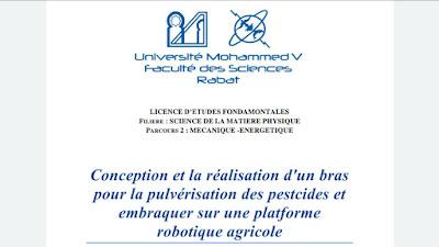 Conception et la réalisation d'un bras pour la pulvérisation des pestcides et embraquer sur une platforme  robotique agricole