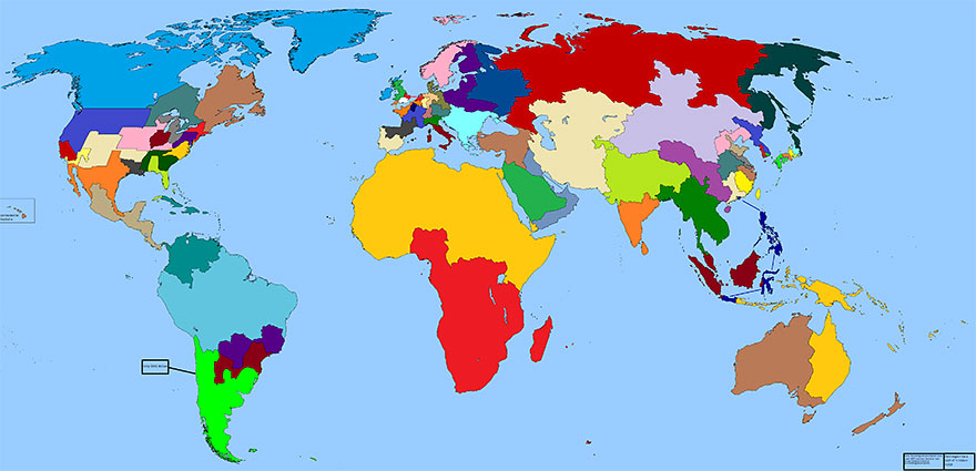 World map divided into regions with a GDP of $1 trillion