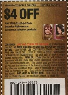 """$4/2 L'Oréal Paris Superior Preference or Excellence Haircolor Products Coupon from """"RMN"""" insert week of 6/16/19(EXP:7/13)."""