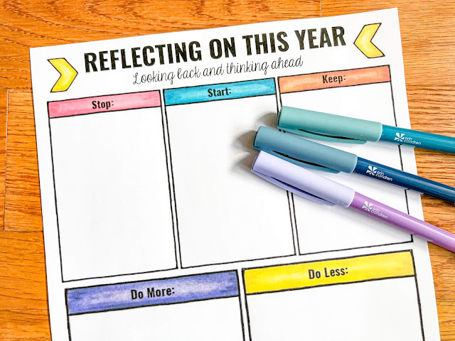 """Photo of """"Reflecting On This Year"""" worksheet and colorful pens."""