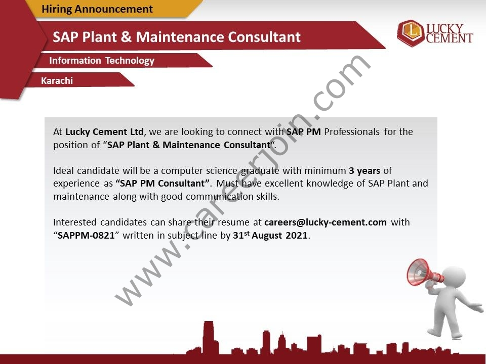 careers@lucky-cement.com - Lucky Cement Jobs 2021 in Pakistan