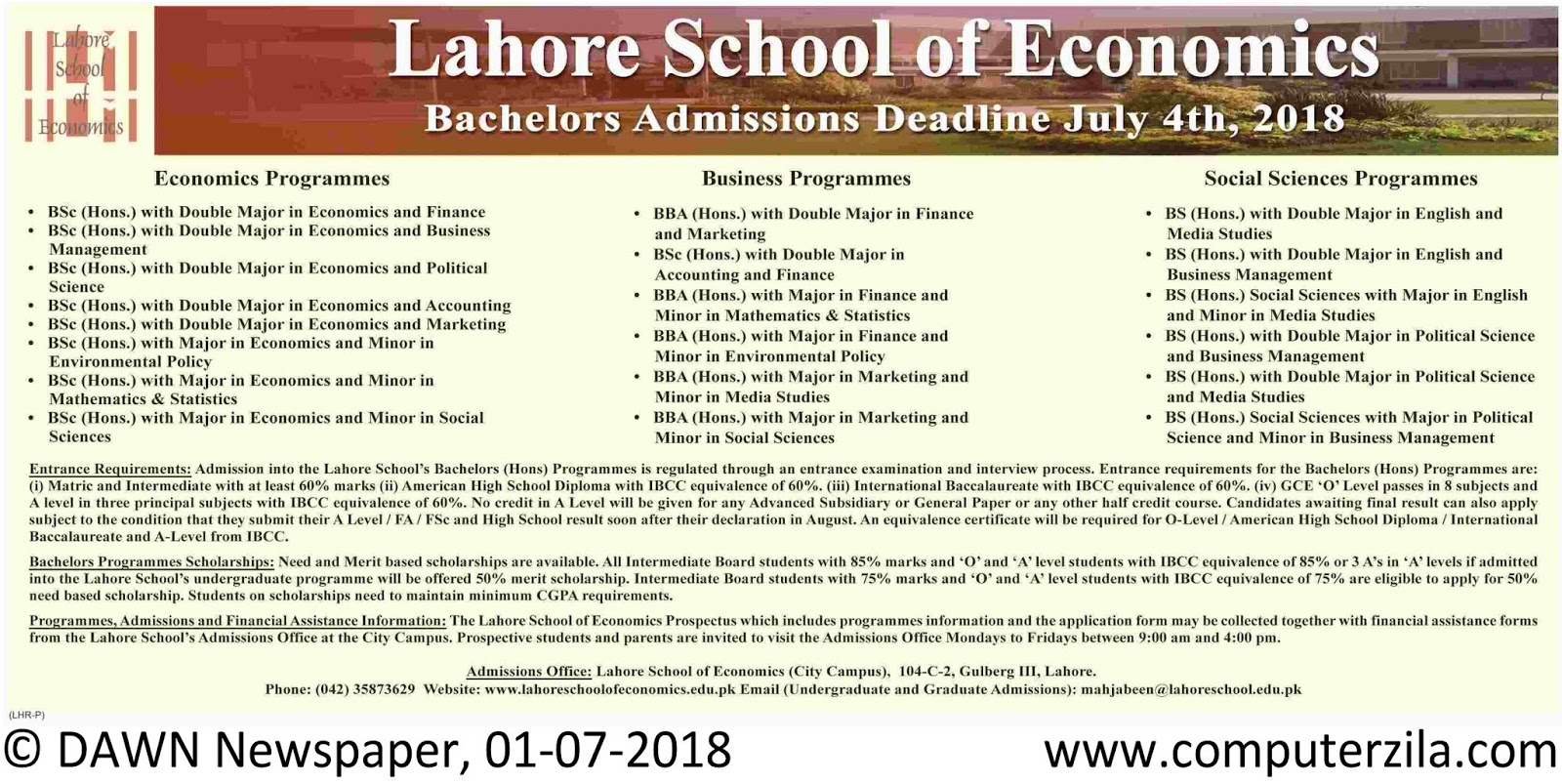 Lahore School of Economics Admissions Fall 2018