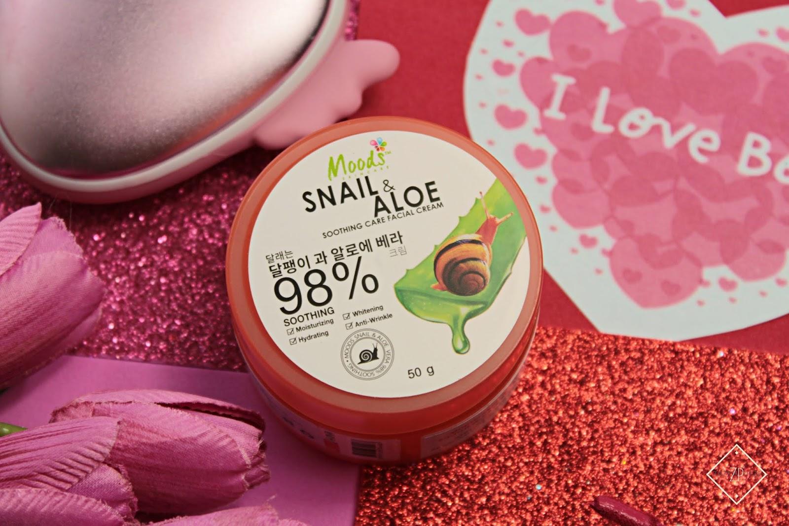 Moods Snail & Aloe 98% nawilżająco-wygładzający żel krem ze śluzem ślimaka i aloesem na noc