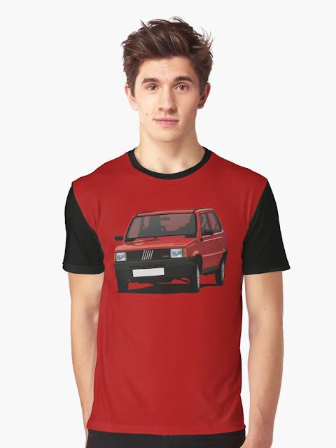 Red Fiat Panda 80s t-shirt